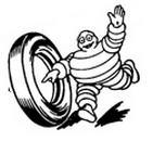 Bibendum main levée associée à un pneu entre 1950 et 1960.
